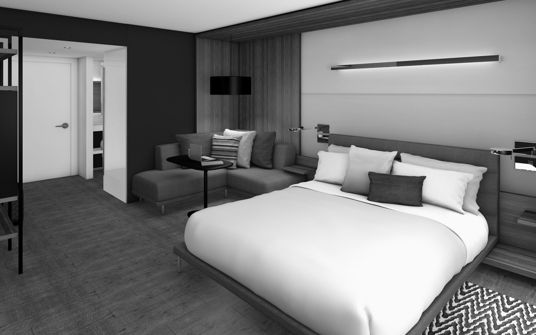 Marriott King Room L-Sofa-Bed Perspective (B&W)
